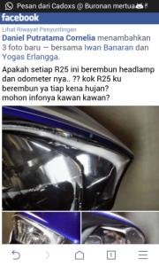 Postingan di FB tentang Headlamp R25 yang mengembun