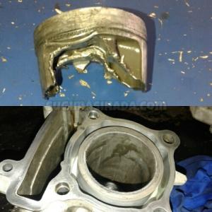 Diasil Cylinder dan Forged piston andalan Yamaha pun hancur tanpa pelumasan  Pict :sugimasihada.com
