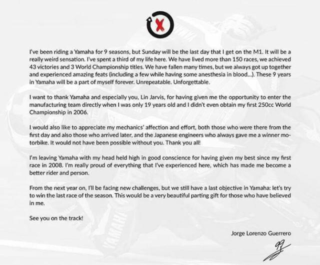 surat perpisahan Yamaha dan Lorenzo